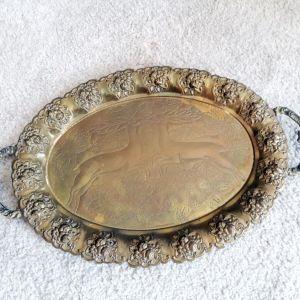 Μπρούντζινος δίσκος σερβιρίσματος με σχέδια και διακοσμητικά χερούλια