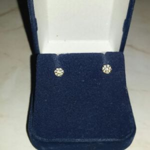 Λευκόχρυσα 14κ σκουλαρίκια ροζέτες με ορυκτά ζιργκόν