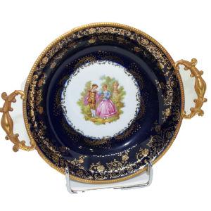 Πιάτο Florance Limoges πορσελάνη μπλε χρυσό 1980s