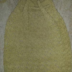 Πλεκτή boho τσάντα χιαστί με λιλά βαμβακερή επένδυση