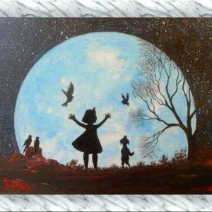 HAPPY LITTLE GIRL – Έργο ζωγραφισμένο στο χέρι με ακρυλικά χρώματα σε canvas panel