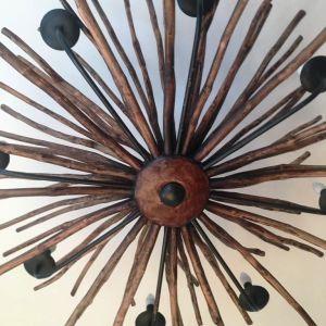 Φωτιστικό οροφής 8φωτο ξύλινο στο χέρι