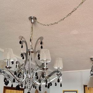 Πολυέλαιος και ασορτί φωτιστικό οροφής χρώμιο - κρύσταλλο