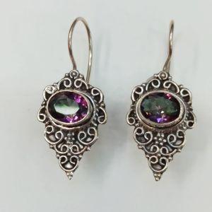 Ασημένια σκουλαρίκια με μυστικό τοπαζι