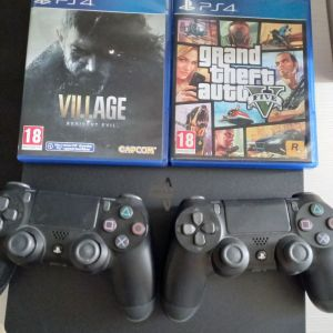 PS4 Slim 1TB+2χειριστηρια+re village+GTA5