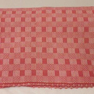 Κουβέρτα υφαντή αργαλειού ολόμαλλη ροζ