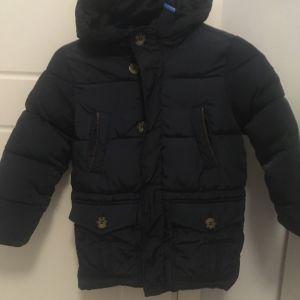 Μπουφάν παιδικό Benetton 4-5 χρόνων μπλε σκούρο με φερμουάρ κ κουμπιά κουκούλα πολύ ζεστό