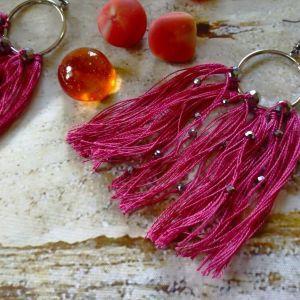 Σκουλαρίκια *Vasia* με τέχνη μακραμε, γυαλινες χαντρες. Χειροποιητο.
