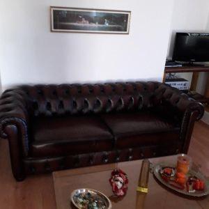 Διθέσιος κανεπές και πολυθρόνα με δερματίνη