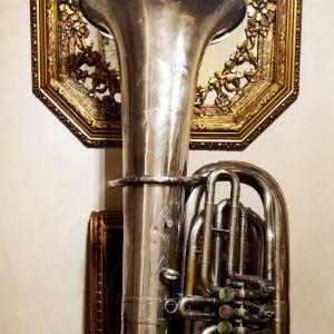 Συλλεκτική Τούμπα Μπάσσο δεκ. 1960 - 1970;, με κύλινδρους, γερμανική επωνυμίας Miraphone Tuba Bb, μουσικό χάλκινο πνευστό όργανο, διακόσμηση ρετρό αντίκα σπάνιο φιλαρμονική τρομπέτα τρομπόνι ντεκόρ
