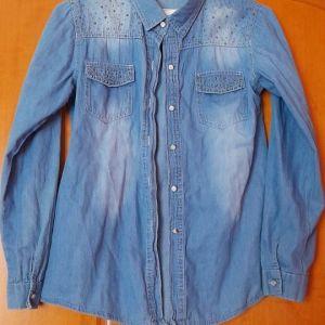 Τζιν γυναικείο πουκάμισο με στρας