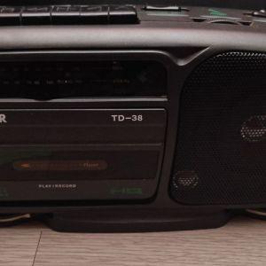 Πωλείται Φορητό Ράδιο Κασετόφωνο Silver TD-38/Recorder/Karaoke + Mic Input