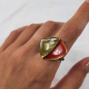 Πολύχρωμο ασημένιο δαχτυλίδι