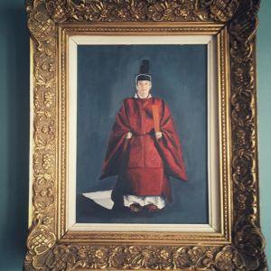 ζωγραφικά πορτρέτα του αυτοκράτορα Ακιχιτο και της συζύγου του ΜΙσικο σε  ξύλινη σκαλιστή κορνίζα