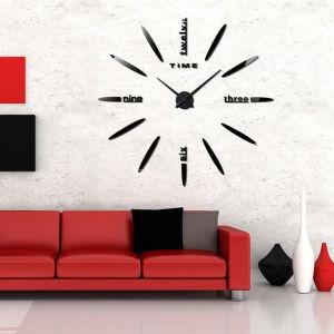 Ρολόι τοίχου 3d αυτοκόλλητο μικρο 40 εως 70 εκ μαύρο