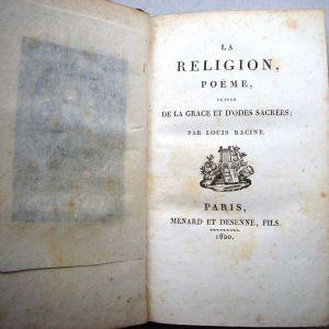 LOUIS RACINE, LA RELIGION POEME SUIVIE DE LA GRACE ET ODES SACREES, PARIS 1820