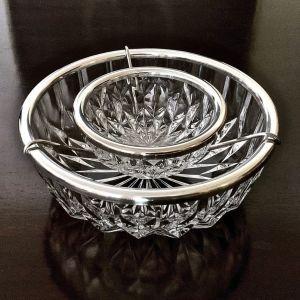 Σετ Σερβιρίσματος 2 Κρυστάλλινα Μπωλ - Για Χαβιάρι & Θαλασσινά -  Vintage 'Diamond Cut' με επάργυρη μπορντούρα