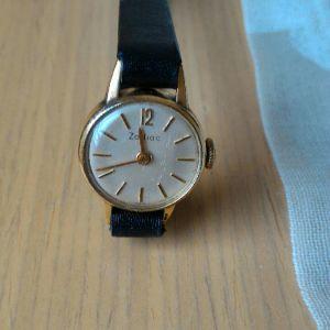Ρολόι χειρός γυναικείο Zodiac, Swiss, LUNETTE PLAQUE OR L 20 MICRONS. Κουρδιστό δεκαετίας'60. Λειτουργικό.