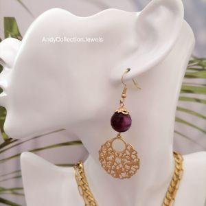 Καλοκαιρινά μεταλλικά χρυσό ματ premium σκουλαρίκια με μοβ αχάτης και στοιχείο δαντέλα κρεμαστό