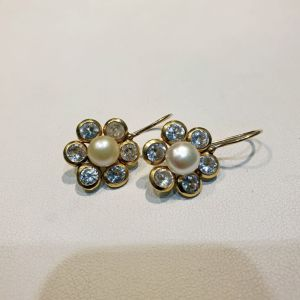 Χρυσά σκουλαρίκια 14Κ με μαργαριτάρια και ζιργκόν, 4.53γρ.