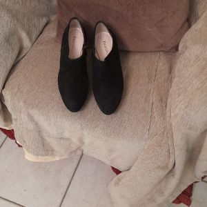 Γοβα μποτακι Haralas σουετ δερματινο μαυρο  μια φορα φορεμενο