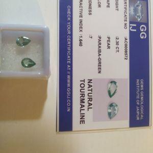 πωλειτε απο συλλεκτη πολυτιμων ορυκτων λιθων, μοναδικο ζευγαρι ορυκτες paraiba-green τουρμαλινες 2,3 ct με το πιστοποιητικό τους