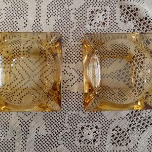 Vintage σετ τασάκια από κίτρινο γυαλί