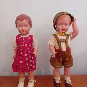 """Αντίκες κούκλες Schildkroet """"Gustel"""" και """"Christel"""""""