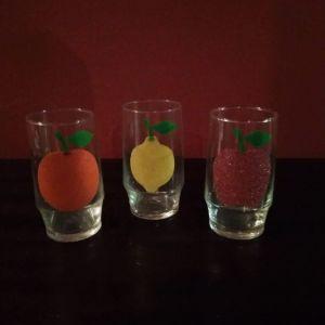 3 Vintage Ποτήρια με Φρούτα