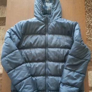 Μπουφάν Lee Cooper μπλε σκούρο πουπουλένιο με κουκούλα και φλις επένδυση XL