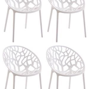 Καρέκλες τραπεζαρίας λευκές SIESTA εσωτερικού/εξωτερικού χώρου.