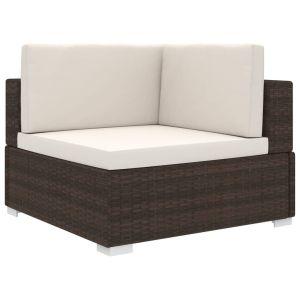 vidaXL Γωνιακό Κάθισμα Τμηματικό 1 τεμ. Καφέ Συνθετ. Ρατάν + Μαξιλάρια-46797