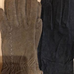 2 ζευγάρια suede γάντια (καφέ και μαύρο)