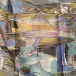 Φουλάρι γκρι με πολύχρωμο μοτίβο