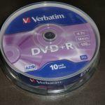 DVD-R Verbatim 4.7GB 16x 120 min Σε Συσκευασία Πύργου Αποθήκευσης (10 Τεμάχια)