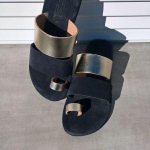 Κομψά χειροποίητα δερμάτινα σανδάλια με ανατομικό σουέτ μαλακό πάτο