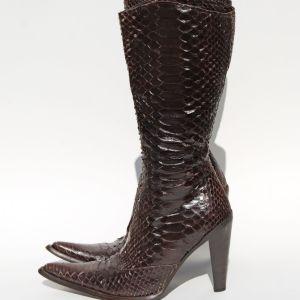 GIANNI BRAVO Αυθεντικές Δερμάτινες Μπότες Φίδι Πύθωνας Νο 37