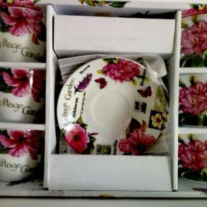 Σετ 6 τμχ. Φλιτζάνια τσαγιού/καφέ με  ωραίες φιγούρες από λουλούδια.