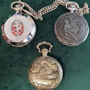 3 ρολόγια τσέπης κουρδιστά