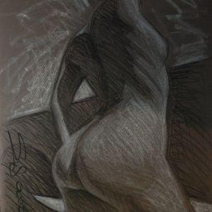 2  ποζες ασπρο σε μαυρο. ζωγραφος αντωνης στεφανακος