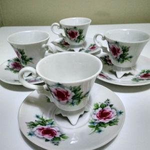 4 φλυτζάνια πορσελάνη για Ελληνικό καφέ η espresso δεκαετίας 1940 άριστα διατηρημένα