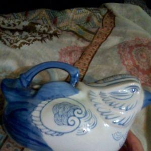 Κινέζικο, πορσελάνινο τσαγερό, αντίκα, ζωγραφισμένο στο χέρι.