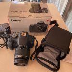 Canon 2000d kit μαζί με τρίποδα και θήκη για το φακό
