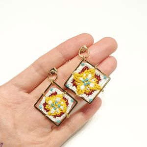 handmade mini crochet flower brick grannysquare earring