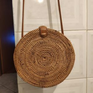 τσάντα στρογγυλή μπαμπού