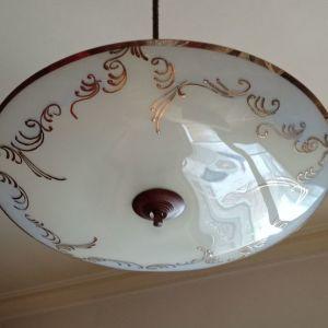 Φωτιστικό οροφής 50ς δίφωτο με χειροποίητο γυαλί και μπρούτζο