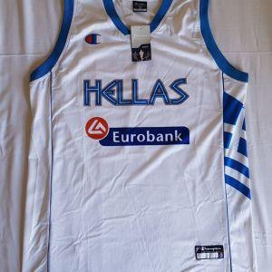 Φανέλα Eurobasket εθνικής Ελλάδας μπάσκετ λευκή, Champion, μέγεθος XXL