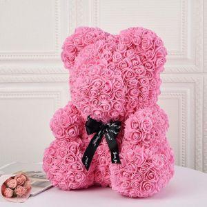 Αρκουδάκι από τεχνητά τριαντάφυλλα ροζ- 35 εκ.