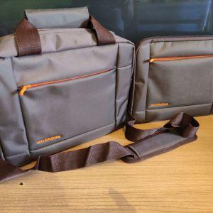 Τσάντα & Θήκη για Λάπτοπ 10'' έως 12,5'' I-JMB σε καφέ με πορτοκαλί χρώμα