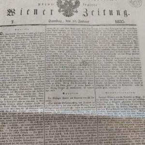 1835 Wiener zeitung Ιανουαριοςεφημερίδα με εκτενή αναφορά Ελλάδα του Όθωνα